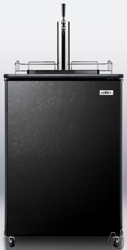 Summit SBC501B 24 Inch Freestanding Beer Dispenser with Half Keg Capacity, Manual Defrost, CO2 Tank, Regulator, Draft Arm, Sankey Tap and Convertible To Beverage Cooler: Black Door, Black Top