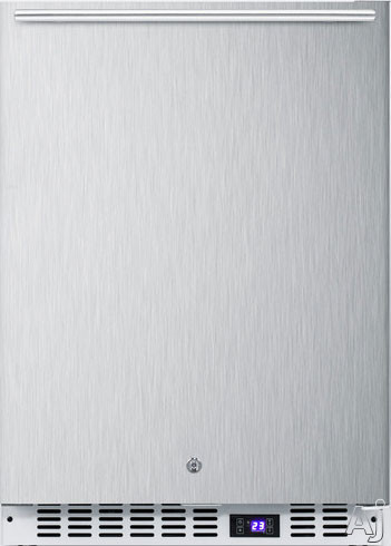 Summit SCFF51OSWHTSS 4.72 cu. ft. Under Counter Freezer with Stainless Steel Door, 3 Adjustable Chrome Wire Shelves, LED Lighting, Door Lock, Reversible Door Swing, Digital Control and Handle Options