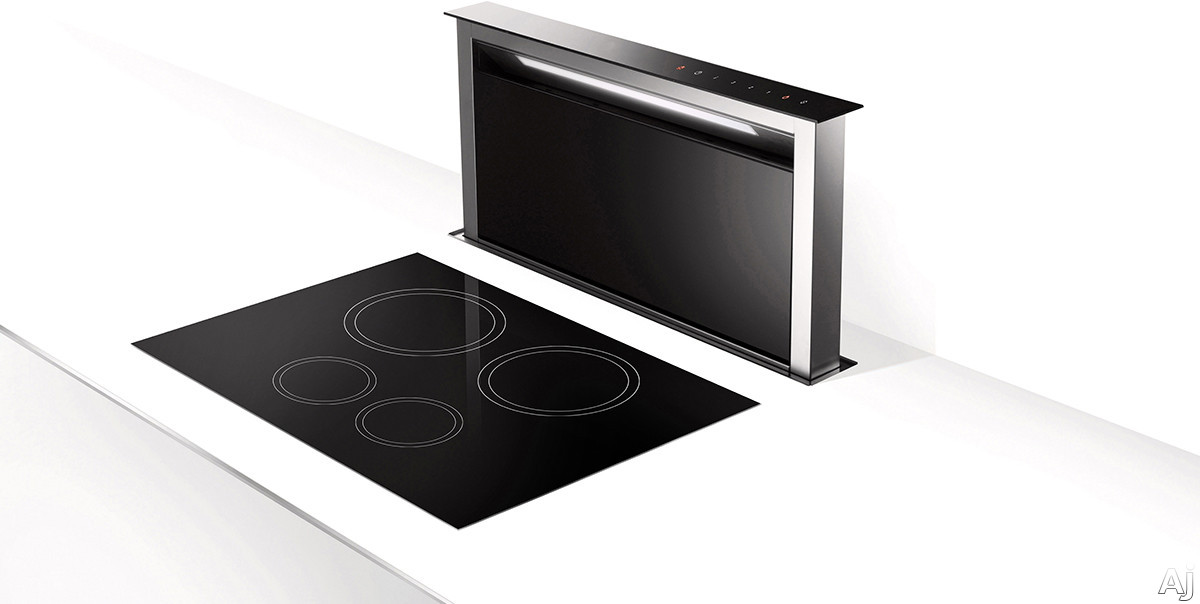 Faber SCLX3615BKNBB 36 Inch Downdraft Hood with Comfort Panel, Delayed Auto-Off, Key 24, LED Light and Intensive Speed: Black SCLX3615BKNBB