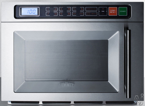 Summit Commercial Series SCM1800M2 1.1 cu. ft. Countertop Commercial Microwave Oven with 1,800 Watts, Dual Magnetron, Single Magnetron Option, Multi-Stage Cooking and Removable Ceramic Shelf