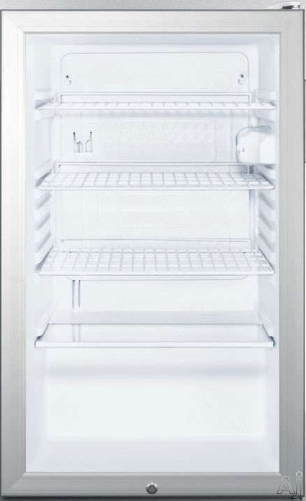 Summit SCR450LBI77 20 Inch Commercial Compact Refrigerator with Glass Door, Adjustable Wire Shelves, Door Lock, Automatic Defrost, Interior Lighting and Dial Thermostat
