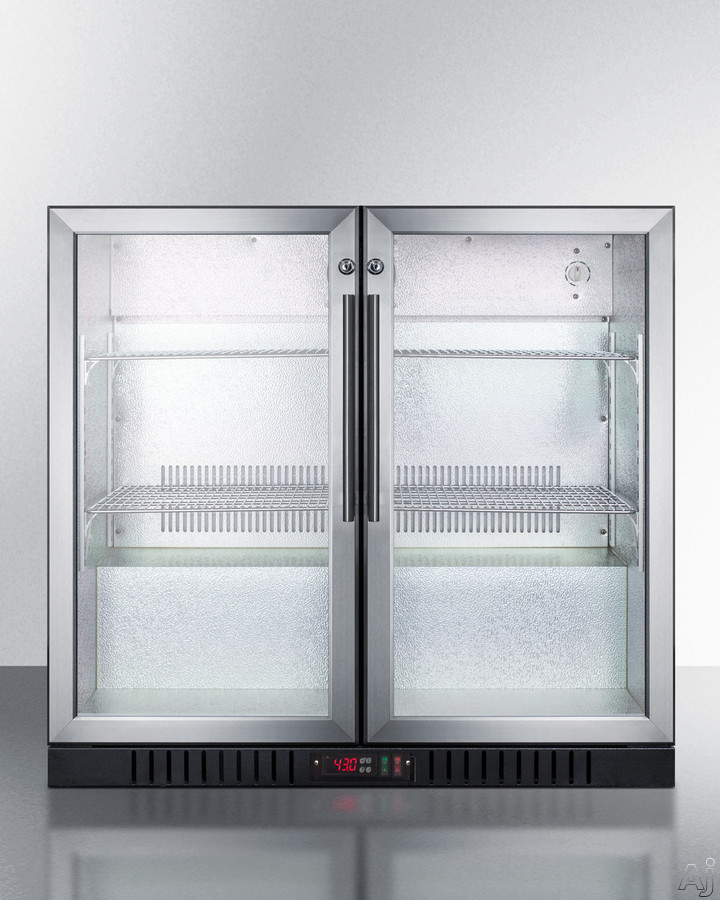 Summit Commercial Series SCR7012DB 36 Inch Commercial Beverage Merchandiser with Self-Closing Glass Doors, Digital Thermostat, Automatic Defrost, Factory-Installed Locks, Adjustable Shelves, Interior