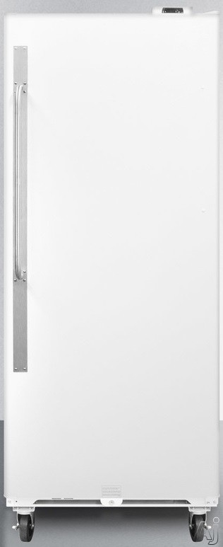 Summit Commercial Series SCUR20X 31 Inch All-Refrigerator with 20.1 cu. ft. Capacity, 4 Adjustable Shelves, 6 Door Bins, Slide-Out Basket, Professional Towel Bar Handle, Front Mounted Lock, Digital Thermostat and Frost-Free Operation