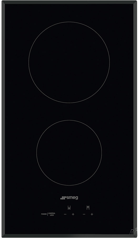 Smeg SEU122B 12 Inch Smoothtop Electric Cooktop with 2 Cook Zones, 9 Power Levels, Touch Controls, Ceramic Black Glass, Beveled Edges and Control Lock