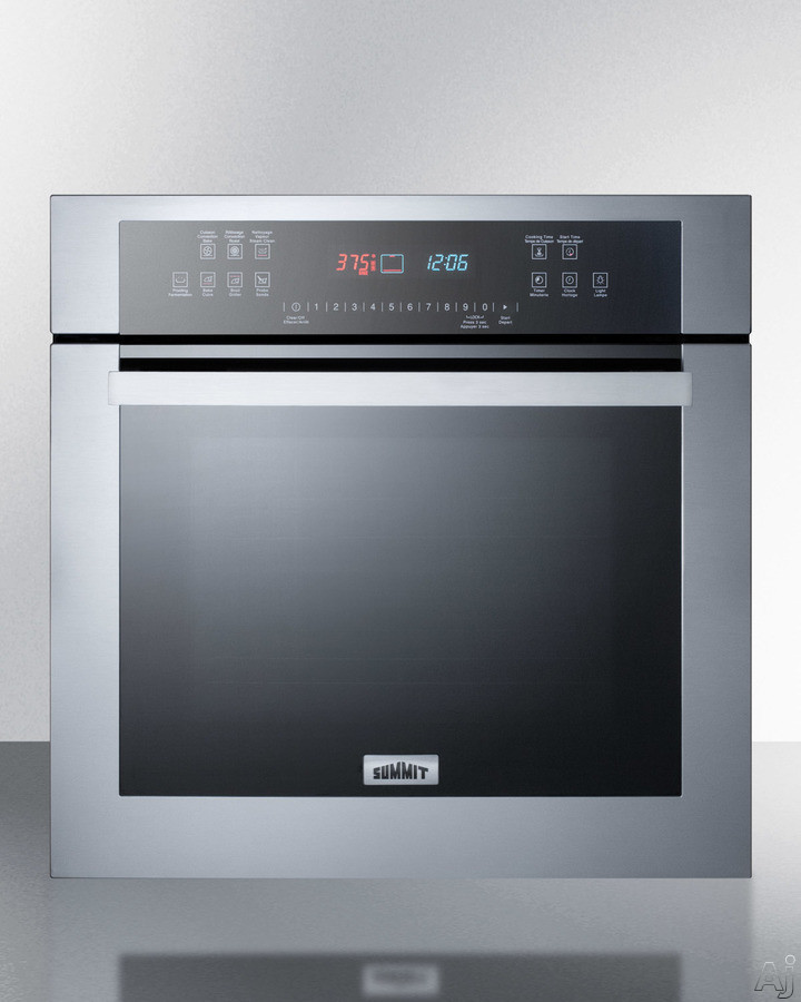 Summit SEW24SS 24 Inch Single Electric Wall Oven with Convection, Steam Clean, Proofing, Delayed Start, Adjustable Racks, Automatic Shutoff, Oven Light, Control Lock, Touch Control Panel, Telescopic R