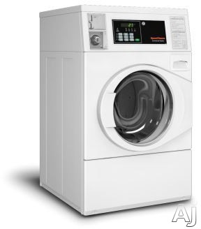 Speed Queen SFNNCASP115TW01 27 Inch Commercial Front Load Washer with 4-Compartment Dispenser, Quantum® Controls, 1,200 RPM Spin Speed, 4 Cycles, Balancing Technology, Large Door Opening, High Capacity Meter Case, Stainless Steel Tub, ADA Compliant and 3