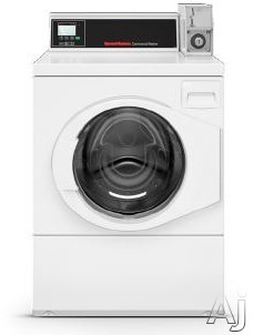 Speed Queen SFNNCRSP115TW02 27 Inch Commercial Front Load Washer with 4-Compartment Dispenser, Quantum® Controls, 1,200 RPM Spin Speed, 4 Cycles, Balancing Technology, Large Door Opening, High Capacity Meter Case, Stainless Steel Tub, ADA Compliant and