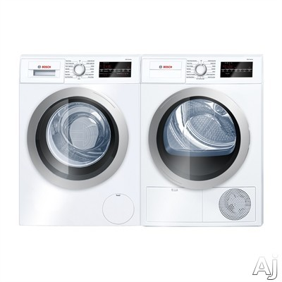 Bosch 500 Series BOWADREUC1 Side-by-Side Washer & Dryer Set with Front Load Washer and Electric Dryer in White
