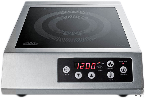 Summit SINCCOM1 13 Inch Portable Induction Cooktop with 1 Cooking Zone, Multiple Power Levels, Automatic Pan Recognition, Timer and Ceran Smooth Surface