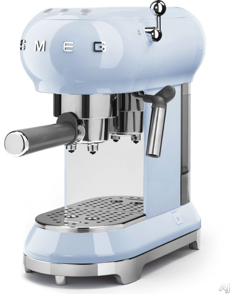 Smeg 50's Retro Design ECF01PBUS 50's Retro Style Espresso Coffee Machine with Thermoblock Heating System, Removable Drip Tray, Anti-Drip System, Removable Water Tank, 15 Bar Pressure, User-Friendly Control Panel and Anti-Slip Feet: Pastel Blue ECF01PBUS