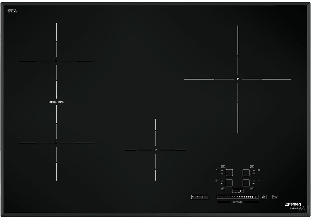Smeg SIMU530B 30 Inch Induction Cooktop with 4 Cook Zones, 9 Power Levels, 1 Multizone, Automatic Pan Detection and Touch Control Slider