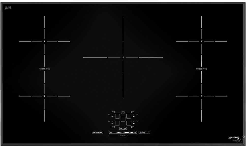 Smeg SIMU536B 36 Inch Induction Cooktop with 5 Cook Zones, 9 Power Levels, 2 Multizones, Automatic Pan Detection and Touch Control Slider