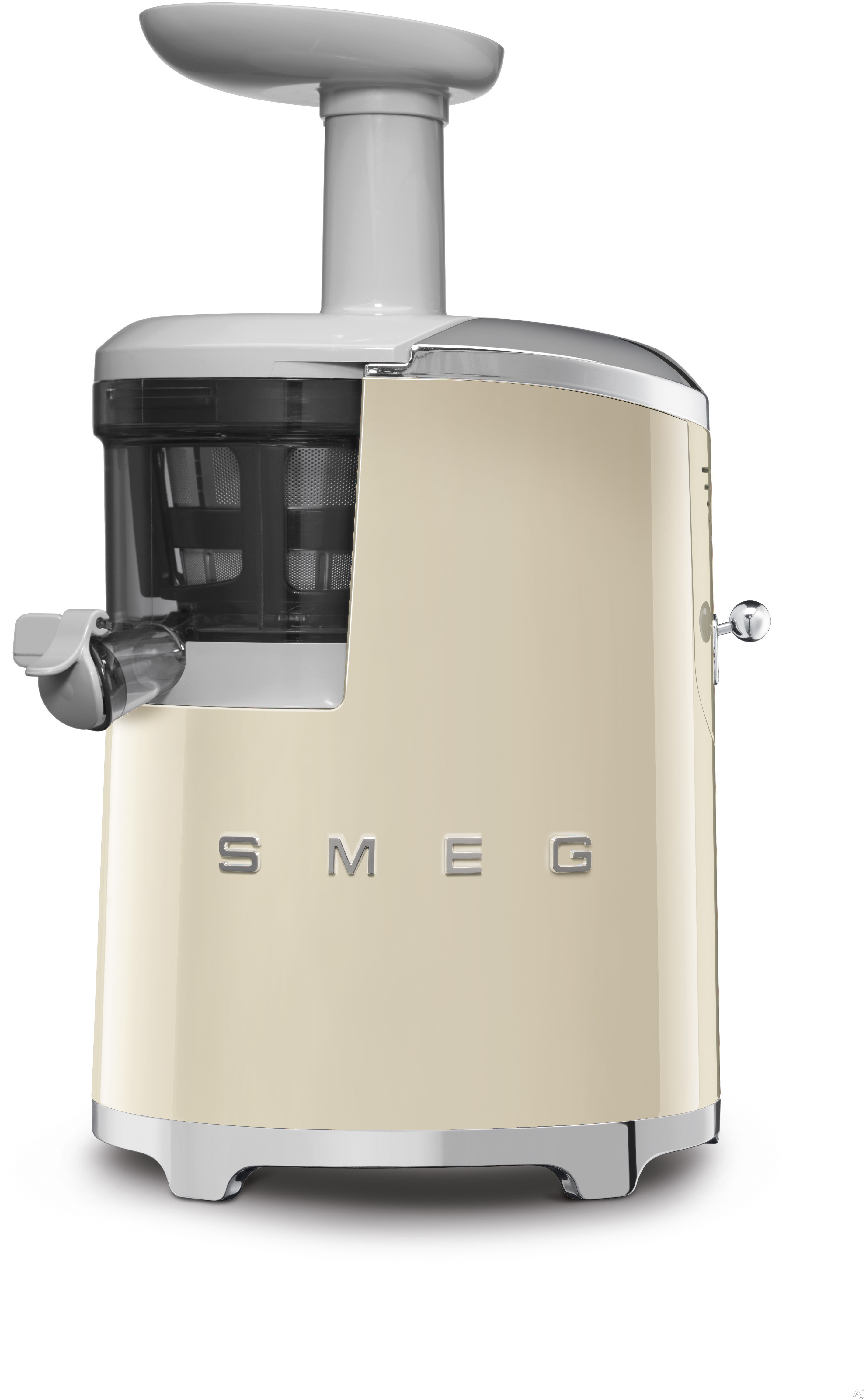 "Smeg 50's Retro Design SJF01CRUS 50's Retro Style Slow Juicer with Slow Squeezing Technologyâ""¢, Tritanâ""¢ Juice Collector, ULTEMâ""¢ Strainer Rotating Brush, Reverse Function, Anti-Slip Feet and 43 RPM: Cream"