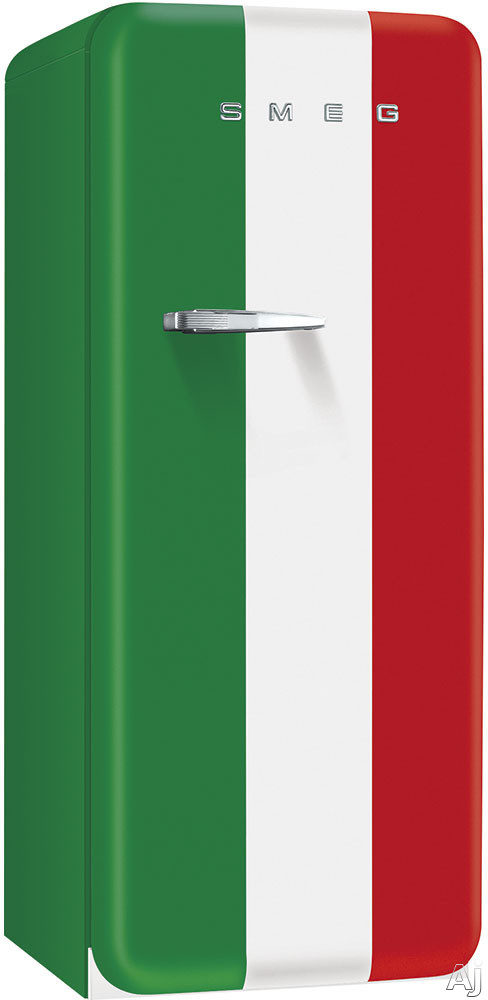 Smeg 50's Retro Design FAB28UITR1 24 Inch 50's Style Refrigerator with Freezer Compartment, Wine Bottle Shelf, Crisper Drawer, Adjustable Glass Shelves, Adjustable Door Bins, Manual Defrost and 9.22 cu. ft. Capacity: Italian Flag, Right Hinge Door Swing