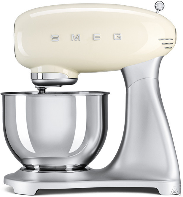 Smeg 50's Retro Design SMF01CRUS Countertop Stand Mixer with 10 Speeds, 3 Attachments Included, Planetary Action, 5 Qt. Stainless Steel Bowl and Ergonomic Handle: Cream