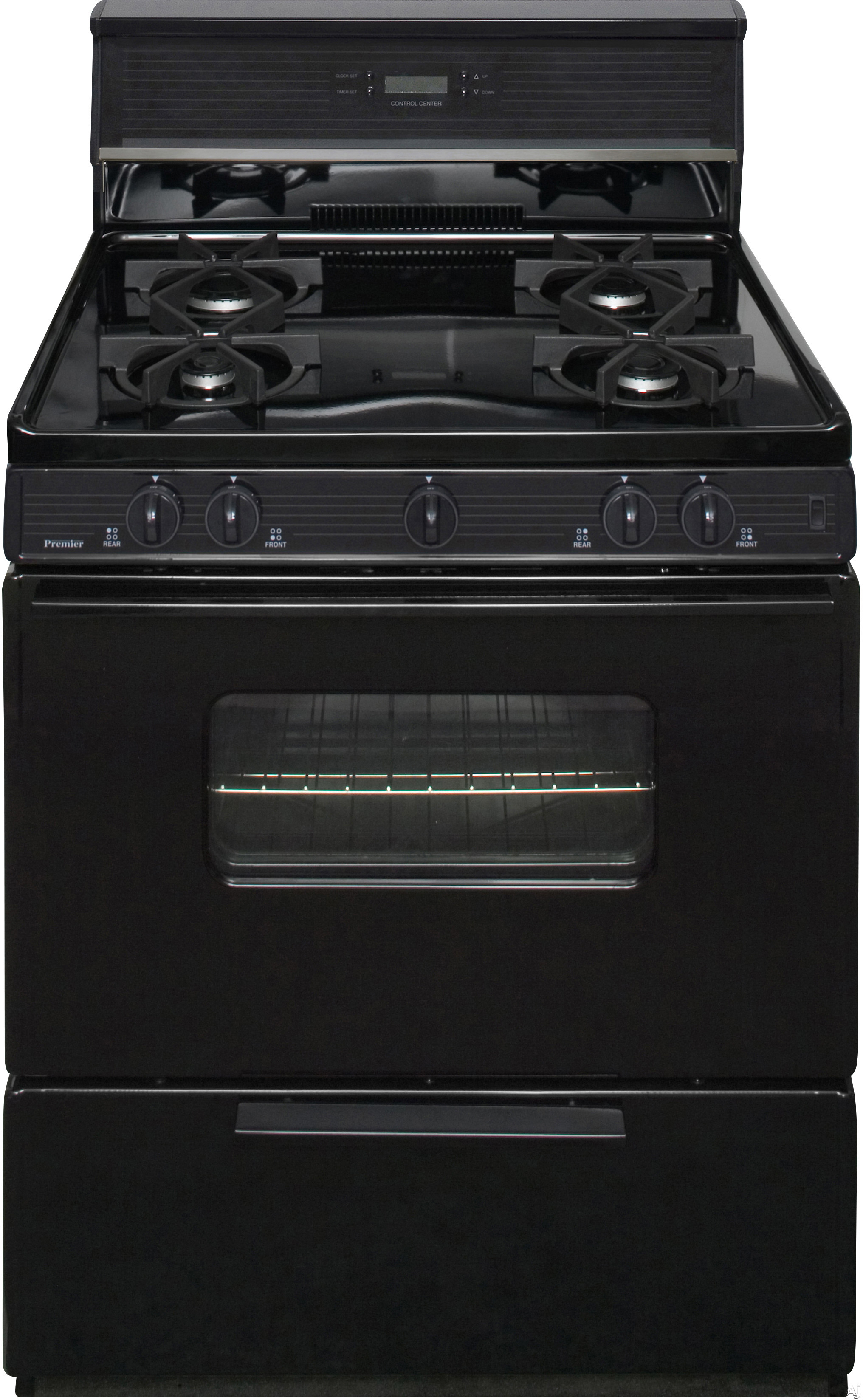 Premier SMK240BP 30 Inch Freestanding Gas Range with 4 Sealed Burners, Electronic Ignition, 17,000 BTU Oven Burner, Electronic Clock/Timer, Interior Oven Light, ADA Compliant and 10 Inch Glass Tempere