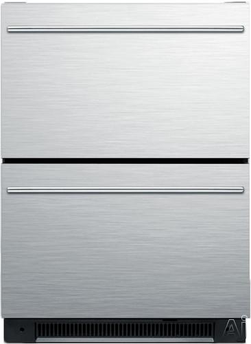 Summit SP5DS2D 24 Inch Built-in Drawer Refrigerator with 5.4 cu. ft. Capacity, Digital Thermostat, LED Interior Lighting, Door Ajar Alarm, Enamel Steel Interior and Sabbath Mode