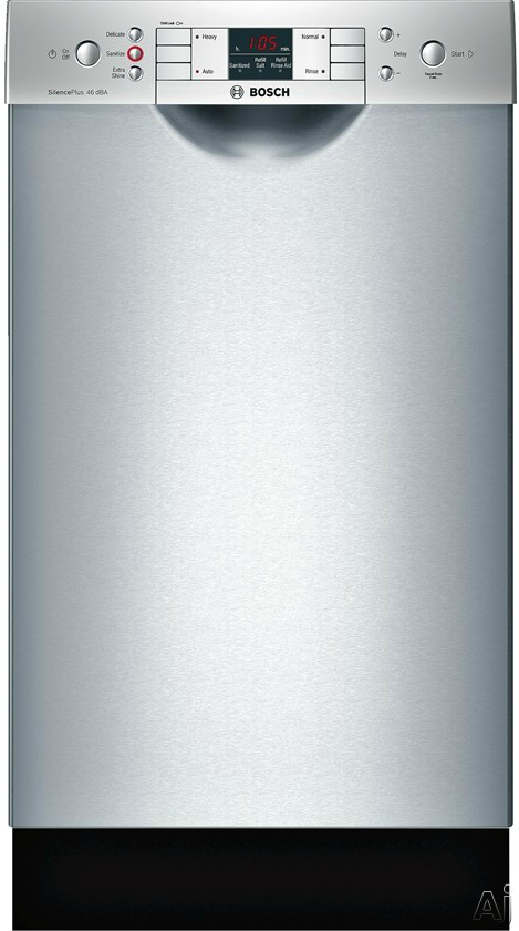 Bosch 300 Series SPE53U55UC 18 Inch Full Console Dishwasher with AquaStop® Plus, RackMatic®, InfoLight®, ActiveTab™ Tray, Sanitize, 9 Place Settings, 4 Wash Cycles, Delay Start, Water Softener, 46 dBA Sound Level and ENERGY STAR® Rated: Stainless St