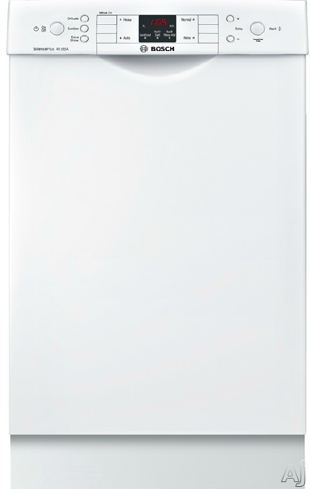Bosch 300 Series SPE53U52UC 18 Inch Full Console Dishwasher with AquaStop® Plus, RackMatic®, InfoLight®, ActiveTab™ Tray, Sanitize, 9 Place Settings, 4 Wash Cycles, Delay Start, Water Softener, 46 dBA Sound Level and ENERGY STAR® Rated: White