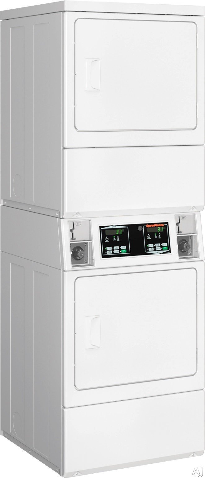 Speed Queen SSGNCAGS113TW01 27 Inch Stacked Gas Dryers with 14.0 cu. ft. Total Capacity, 5 Temperature Selections, 220 CFM Airflow, Upfront Serviceable, Industry's Largest Door Opening, Easy-to-Read Digital Display and ADA-Compliant Bottom Dryer: Coin Box