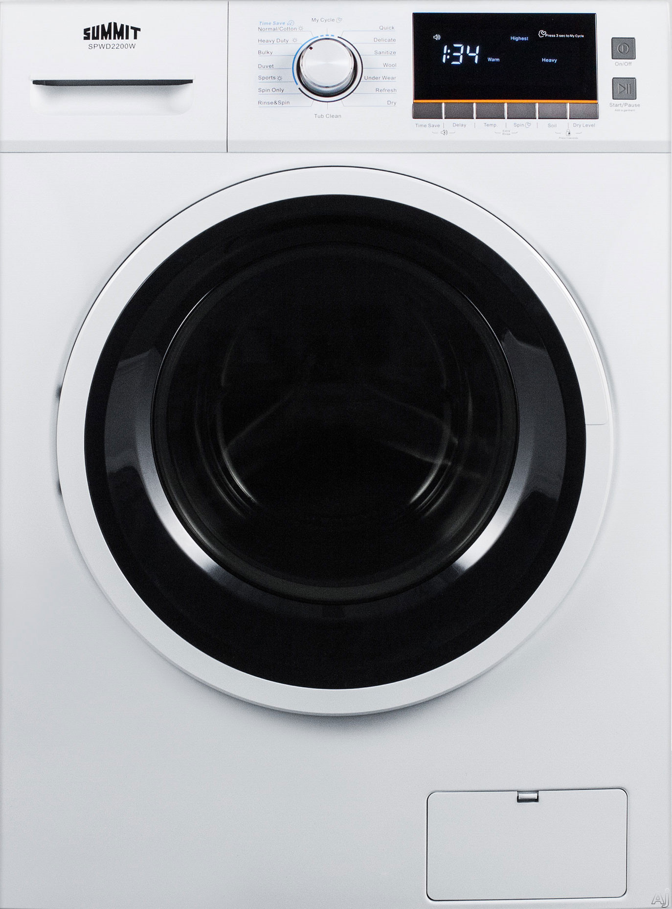Picture of Summit SPWD2200W 24 Inch Front-Load Washer/Dryer Combo with 2.0 cu. ft. Capacity, 7 Wash Cycles, Sanitize Cycle, 4 Temperature Settings, 1,200 RPM Spi