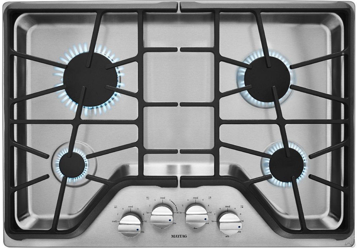 Maytag MGC9530DS 30 Inch Gas Cooktop with 4 Sealed Burners, 5,000-BTU Simmer Burner, 18,000-BTU Power Burner, Die-Cast Metal Knobs, Front Control Knobs and Heavy-Duty DuraClean Continuous Cast-Iron Grates