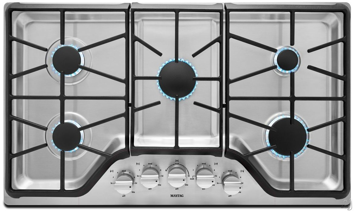 Maytag MGC9536DS 36 Inch Gas Cooktop with 5 Sealed Burners, 5,000-BTU Simmer Burner, 18,000-BTU Power Burner, Die-Cast Metal Knobs, Front Control Knobs and Heavy-Duty DuraClean Continuous Cast-Iron Grates