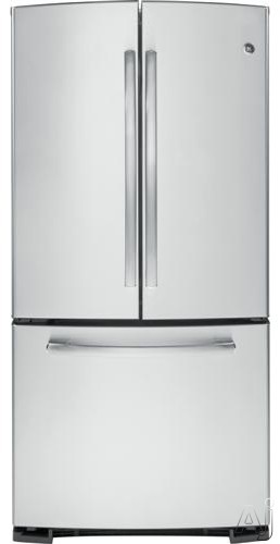 GE GNS23GGH 33 Inch French Door Refrigerator with 22.7 cu. ft. Capacity, 3 Adjustable Glass Shelves, Gallon Storage, Quick Freeze Shelf, Upfront Temperature Controls, Dual Level Interior Lighting, Internal Water Dispenser and Ice Maker GNS23GGH