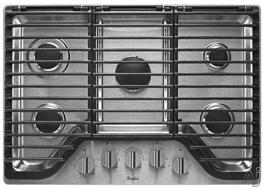 Whirlpool WCG97US0DS 30 Inch 5-Burner Gas Cooktop with FlexHeat, Simmer Burner, EZ-2-Lift Grates, 5 Sealed Burners, SpillGuard Design and Dishwasher-Safe Knobs