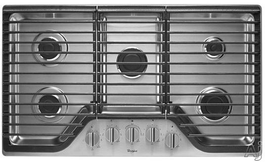 Whirlpool WCG51US6D 36 Inch Gas Cooktop with SpeedHeat, AccuSimmer Burner, 5 Sealed Burners, Continuous Cast-Iron Grates, Dishwasher-Safe Knobs, SpillGuard Cooktop and Wall Oven Compatible