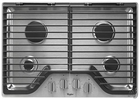 Whirlpool WCG75US0D 30 Inch Gas Cooktop with Stainless Steel Finish Knobs, FlexHeat Technology, SpillGuard Accents and Two EZ-2-Lift Hinged Cast-Iron Grates