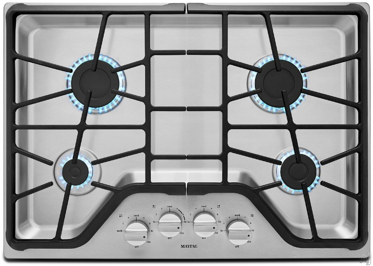 Maytag MGC7430DS 30 Inch Gas Cooktop with 4 Sealed Burners, 5,000-BTU Simmer Burner, 15,000-BTU Power Burner, Front Control Knobs and Heavy-Duty DuraClean Continuous Cast-Iron Grates: Stainless Steel
