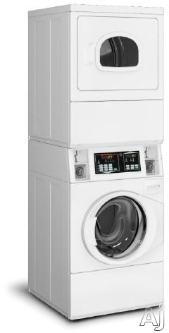 Speed Queen STENCASP175TW01 27 Inch Commercial Stacked Washer and Electric Dryer with Quantum® Controls, 1,200 RPM Spin Speed, 4-Compartment Dispenser, Stainless Steel Tub, Reversible Dryer Door, Coin Box Sold Separately, 4 Wash Cycles, 5 Dryer Options a