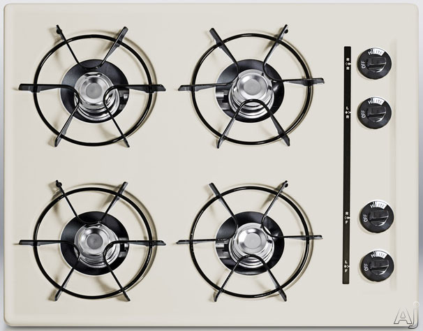Summit STL03P 24 Inch Gas Cooktop with 4 Open Burners, Porcelain Enameled Steel Grates, Recessed Top, Battery Start Ignition and LP Convertible: Bisque