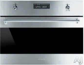 Image of Smeg Classic Design SU45VCX1 24 Inch Electric Speed Oven with 2.8 cu. ft. Capacity, 10 Cooking Modes, Dual Steam and Convection Cooking Functionality, Digital LED Display and Ergonomic Control Knobs