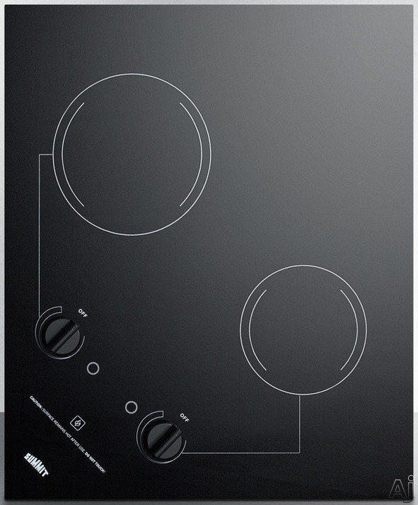 Summit CR2B121 21 Inch Electric Cooktop with 2 Radiant Heating Elements, 1,400 Watts, Ceramic Glass, Push-to-Turn Knobs, Portrait or Landscape Installation, Residual Heat Indicator and Indicator Light