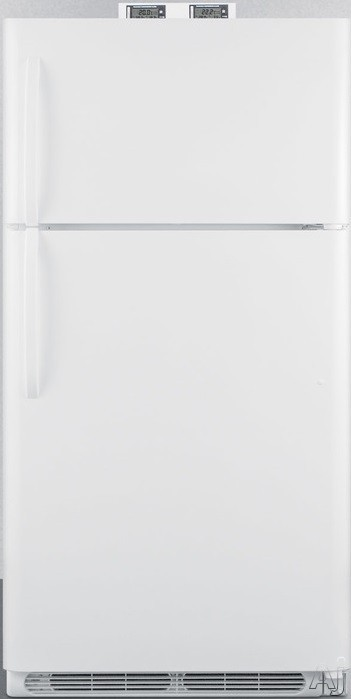 Summit Made by Crosley Series BKRF15 28 Inch Break Room Refrigerator with 14.75 cu. ft. Capacity, Adjustable Wire Shelves, Gallon Door Storage, Temperature Alarms, NIST Calibrated Thermometers, Adjustable Thermostat, Crisper Drawers and Frost-Free Operati