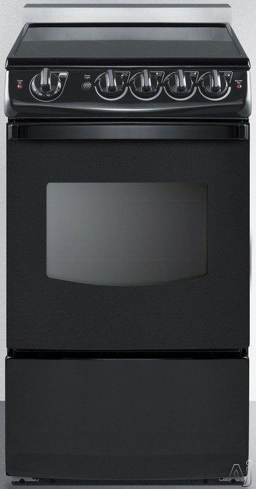 Summit White Pearl Series REX206BRT 20 Inch Slide-In Electric Range with 2.4 cu. ft. Capacity, 4 Heating Elements, Waist-High Broiler, Push-to-Turn Knob Controls and ADA Compliant Design
