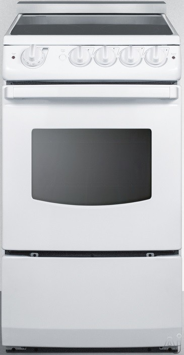 Summit White Pearl Series REX205WRT 20 Inch Slide-In Electric Range with 2.4 cu. ft. Capacity, 4 Heating Elements, Waist-High Broiler, Push-to-Turn Knob Controls and ADA Compliant Design