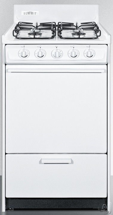Summit WTM1107S 20 Inch Gas Range with 2.46 cu. ft. Capacity, 4 Sealed Burners, Broiler Compartment, Push-to-Turn Burner Knobs, 2 Oven Racks and Backguard