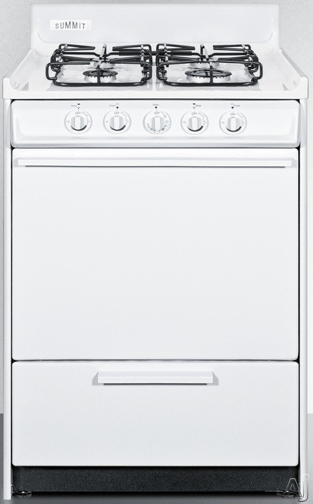 Summit WTM6107S 24 Inch Gas Range with 2.92 cu. ft. Oven Capacity, 4 Sealed Burners, 12,000 BTU High Output Burner, Drop-Down Broiler Compartment and 2-Piece Broiler Pan and Push-to-Turn Knobs