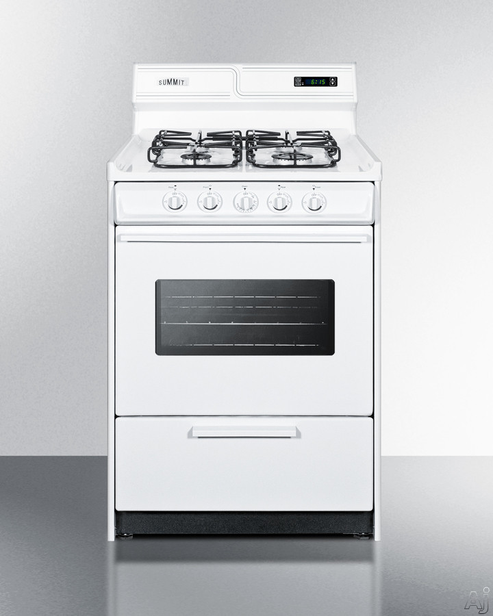 Summit WTM6307KSW 24 Inch Gas Range with 2.92 cu. ft. Capacity, 4 Sealed Burners, 12,000 BTU High Output Burner, Removable Porcelain Oven Top, Digital Clock and Timer and Push-to-Turn Knobs