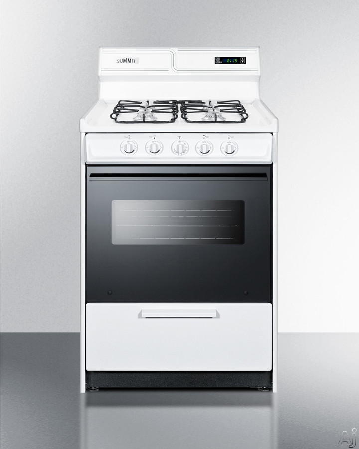 Summit WTM6307DKS 24 Inch Freestanding Gas Range with 4 Burners, High Output Burner, Broiler Drawer, Broiler Pan and Backguard
