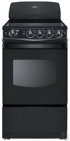 Summit REX206B 20 Inch Electric Range with 2.4 cu. ft. Capacity, 4 Heating Elements, Waist-High Broiler, Push-to-Turn Knobs, Large Oven Window, Backguard and ADA Compliant: Black