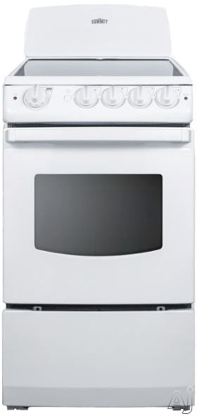 Summit REX205W 20 Inch Electric Range with 2.4 cu. ft. Capacity, 4 Heating Elements, Waist-High Broiler, Push-to-Turn Knobs, Large Oven Window, Backguard and ADA Compliant: White