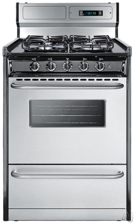 Summit TTM63027BKSW 24 Inch Gas Range with 2.9 cu. ft. Capacity, 4 Sealed Burners, High Output Burner, Broiler Compartment, Digital Clock and Timer, Backguard and Towel Bar Handles