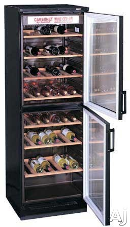 "Summit SWC1775 24"" Wine Cellar with 120-Bottle Capacity, 5 Wooden Wine Racks, Fluorescent Light and 2 Tinted Glass Doors (Image Shown with 7 Racks)"