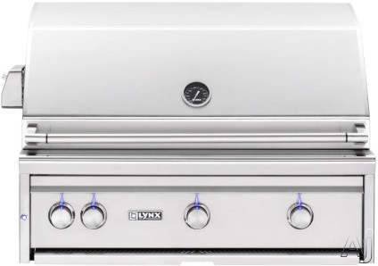 """Lynx Professional Grill Series L36ATR 36 Inch Built-In Grill with 935 sq. in. Cooking Surface, 3 Tridentâ""""¢ Burners, Dual Position Rotisserie, Halogen Lighting and Illuminated Controls L36ATR"""