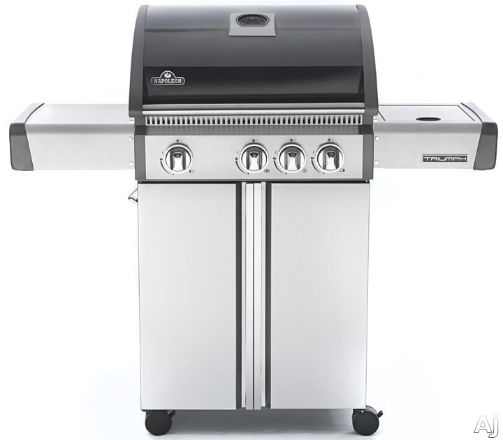 Napoleon Triumph Series T410SBPK 50 Inch Freestanding Gas Grill with 530 sq. in. Cooking Area, 44,700 Total BTU, 3 Main Burners, Side Burner, Cast Iron Cooking Grids, Warming Rack and Temperature Gauge: Liquid Propane