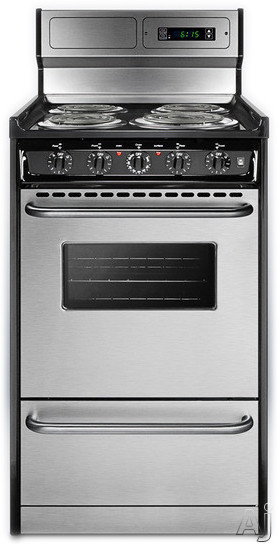 Summit Professional Series TEM130BKWY 20 Inch Freestanding Electric Range with 2.5 cu. ft. Capacity, 4 Coil Elements, Black Porcelain Cooktop, Oven Window, High Deluxe Backguard, Digital Clock/Timer a